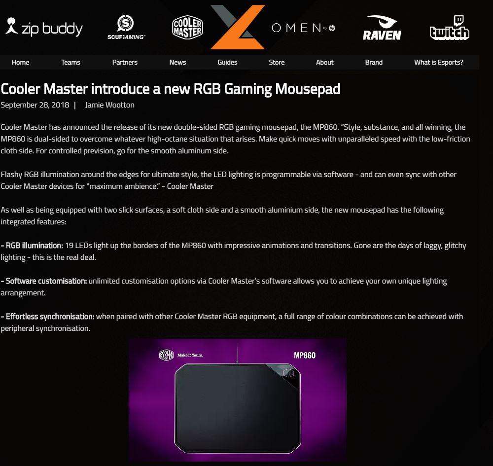 Announcing the Cooler Master MP860 for exceL Esports – Watch This Space